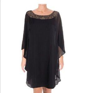XSCAPE Embellished Chiffon Cape Overlay Dress